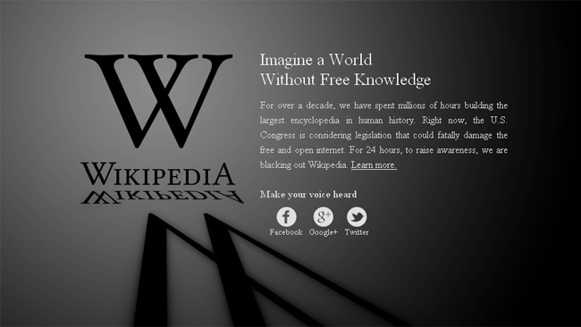 The Wikipedia blackout is in protest of a proposed new anti-piracy law. Picture: Courtesy of Wikipedia.