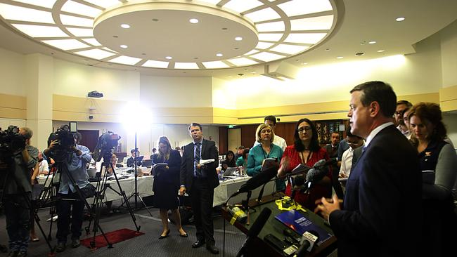 Treasurer Tim Nicholls talks to the media at the State Budget lockup at Parliament. Picture: Annette Dew