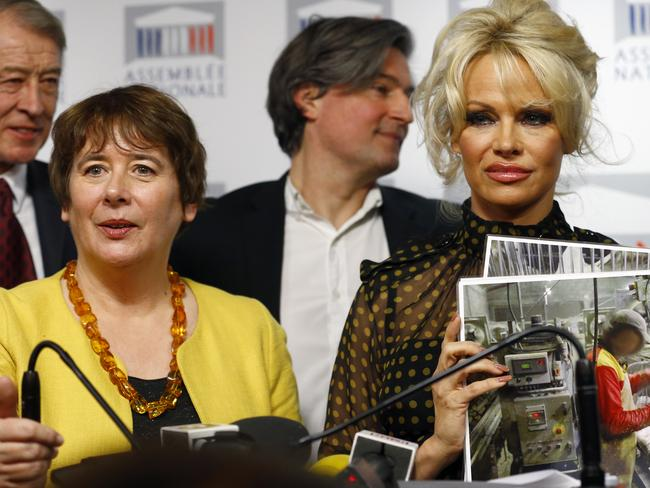 Taking a stand ... Pamela Anderson with French Deputy Laurence Abeille, left, at a news conference at the French National Assembly to protest the force-feeding of geese. Picture: AP Photo/Francois Mori