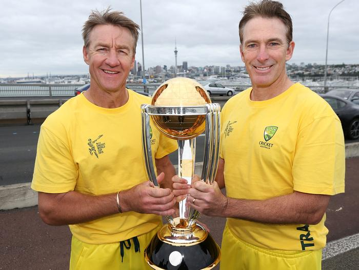 Damien Fleming (R) and Andy Bichel. Fleming was the architect of the run out during the famous 1999 World Cup semi-final.