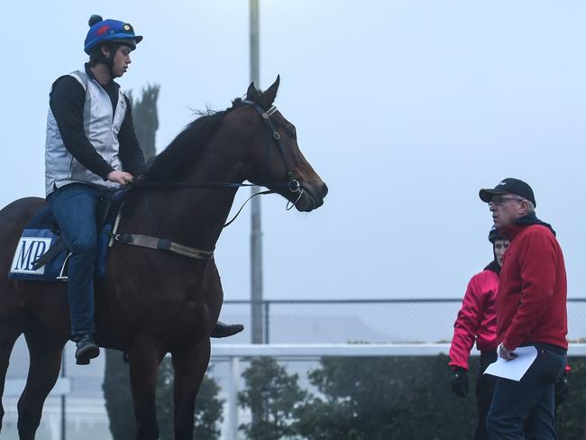 Track rider Lachie Hayes aboard Lankan Rupee talks with trainer Mick Price after trackwork last month. Picture: Getty Images