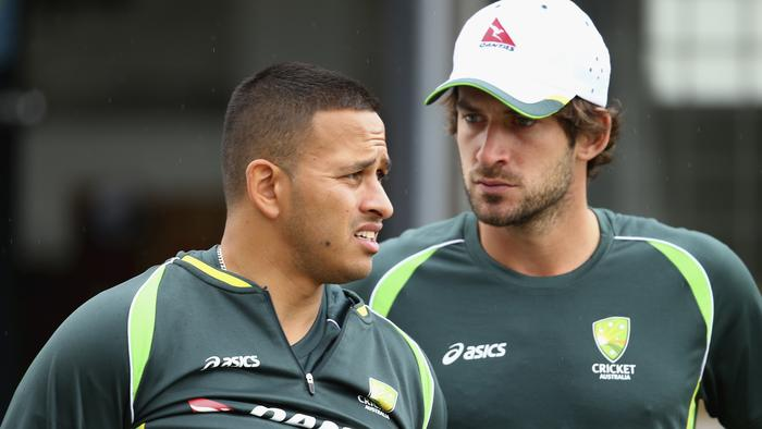 SYDNEY, AUSTRALIA - OCTOBER 13: Usman Khawaja and Joe Burns of Australia looks on during the Australian Test Players red ball player camp at Hurstville Oval on October 13, 2015 in Sydney, Australia. (Photo by Ryan Pierse/Getty Images)