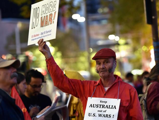 The protesters say world leaders should be working to reduce the threat of war.