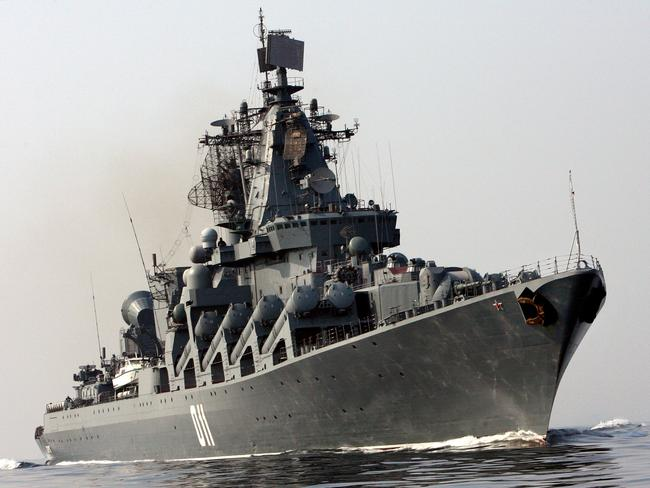 Pride of Russian fleet bound for Brisbane ... The Russia Navy's guided-missile cruiser, The Varyag.