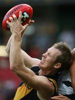 Great grab ... Jack Riewoldt marks in front of Greater Western Sydney's Curtly Hampton. Picture: Phil Hillyard