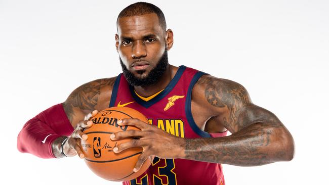 LeBron James #23 of the Cleveland Cavaliers poses during media day.