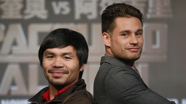 WBO welterweight champion Manny Pacquiao, left, and Chris Algieri.