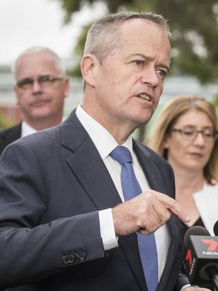 Leader of the Opposition Bill Shorten speaking to the media in Perth yesterday. Picture: Tony McDonough/AAP