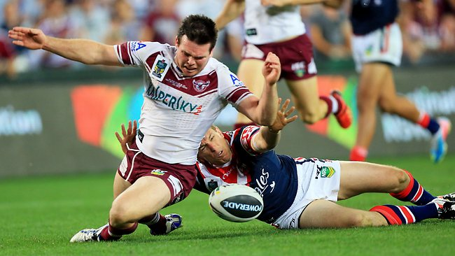 Jamie Lyon is tackled without the ball by Mitchell Aubusson, resulting in a Manly penalty try.