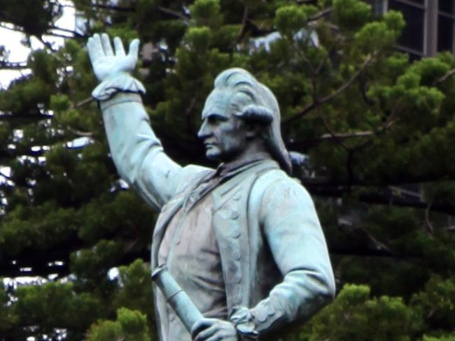 The statue of Captain Cook seen during walk through Hyde Park on the Hyde Park Trail in Sydney.