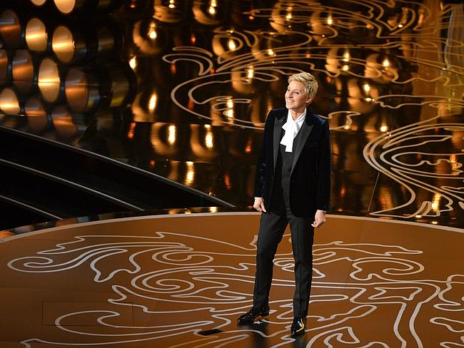 Ellen DeGeneres opens the 86th Academy Awards at the Dolby Theatre in Los Angeles.