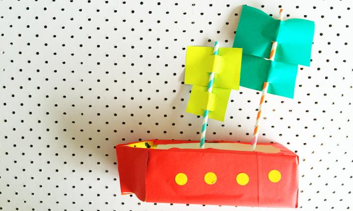 Construct a milk carton pirate ship