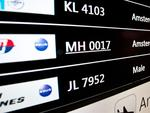 This photo shows the information screen at the arrivals hall of the Kuala Lumpur International Airport in Sepang, displaying Malaysia Airlines MH17. Picture: AFP