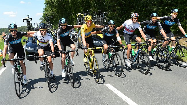 Richie Porte, on the right of 2012 yellow jersey Bradley Wiggins, is a potential podium placegetter himself, according to Andy Schleck. Picture: AFP