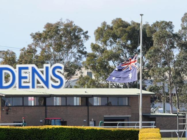 The flags were at half mast at Rosehill Gardens in respect of those who perished in the Malaysian Airlines attack. Picture: Simon Bullard