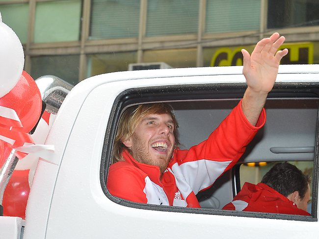 AFL Grand Final Parade, Hawthorn V's Sydney. Swans Lewis Roberts-Thomson Picture: George Salpigtidis