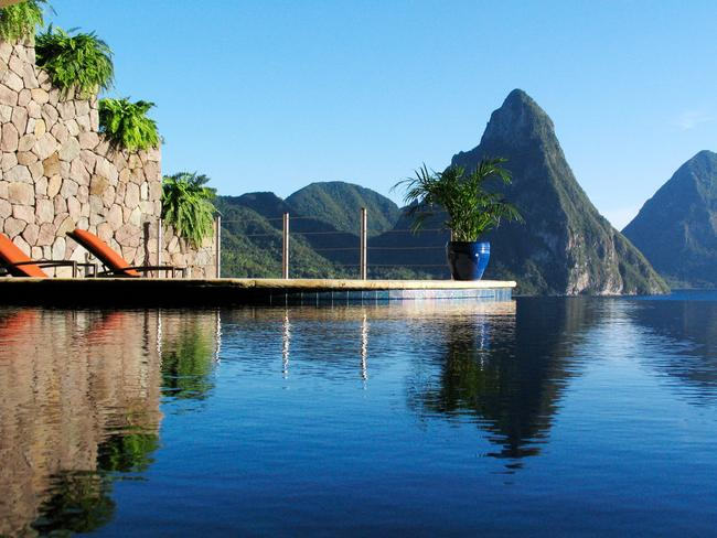 Infinity pools and beautiful scenery at St Lucia.