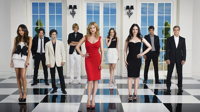 Actors Ashley Madekwe, Nick Wechsler, Connor Paolo, Gabriel Mann, Emily VanCamp, Christa B Allen, Madeleine Stowe, Josh Bowman and Henry Czerny in the US ABC TV show 'Revenge'. Pic courtesy Channel Seven.
