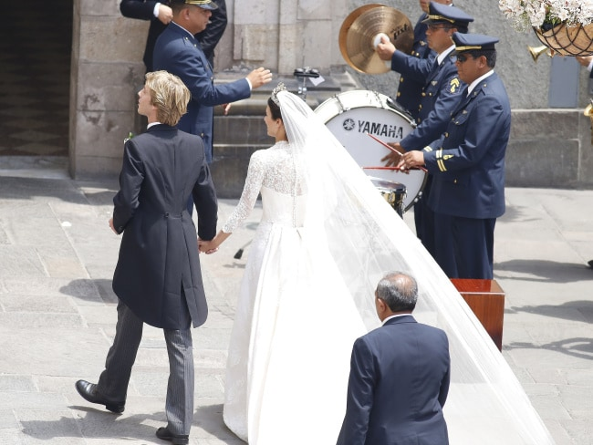 Alessandra de Osma and Prince Christian of Hanover leave the church after their ceremony. Photo: Elkin Cabarcas / MEGA