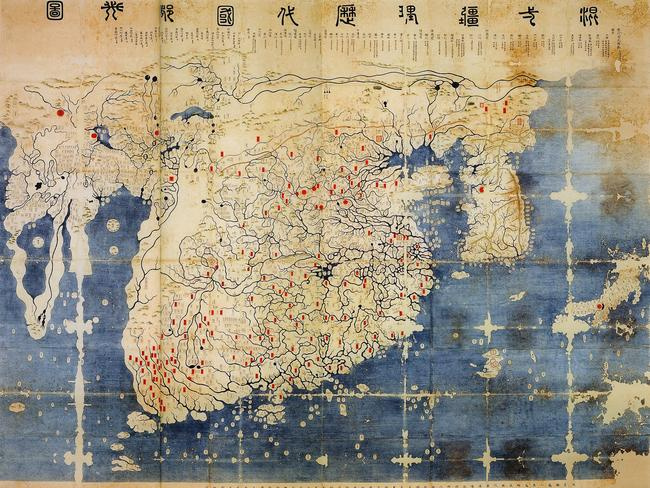 Called the Kangnido map, this Chinese chart of Asia and India was made in 1402. It predates admiral Zheng He's voyages and suggests he was largely following pre-established routes. Picture: Wikimedia