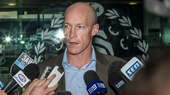 Carlton football manager Andrew McKay explains Carlton's decision to the media. Picture: Mark Dadswell