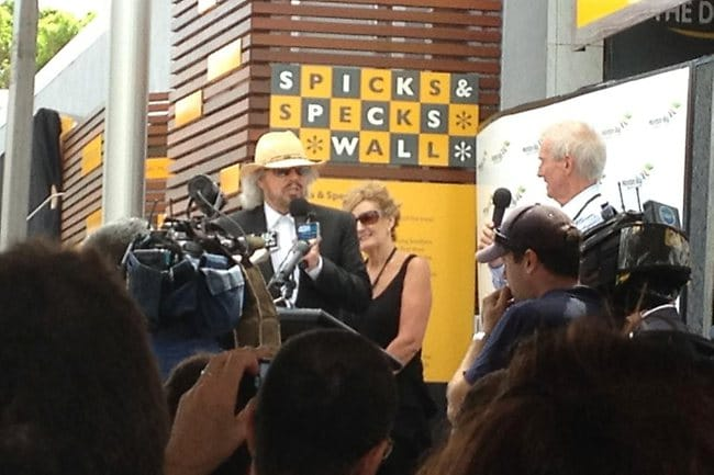 Barry Gibb addresses the crowd in Redcliffe for the opening of Bee Gees Way.