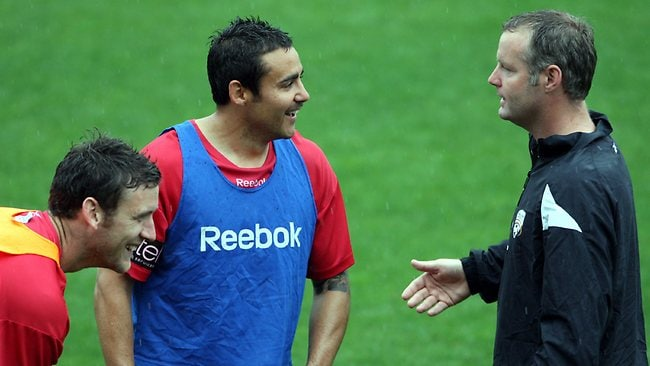 Rini Coolen with former Adelaide United captain Travis Dodd. Picture: Ray Titus