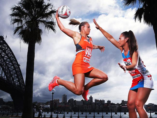Netball captains Kimberlee Green and Abbey McCulloch will clash in the Giants v Swifts derby. Pic: Phil Hillyard