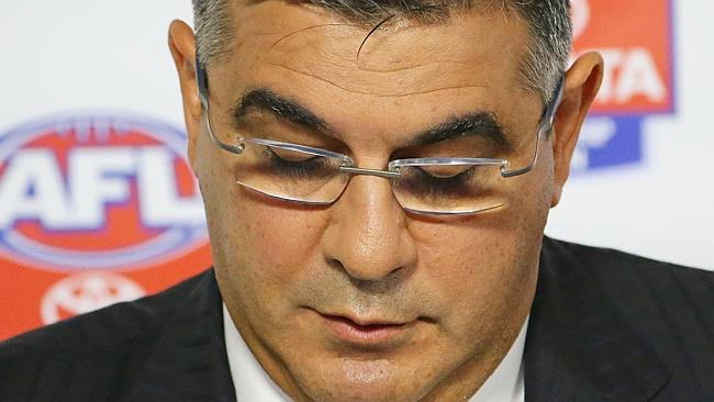 Andrew Demetriou speaks during an AFL press conference.