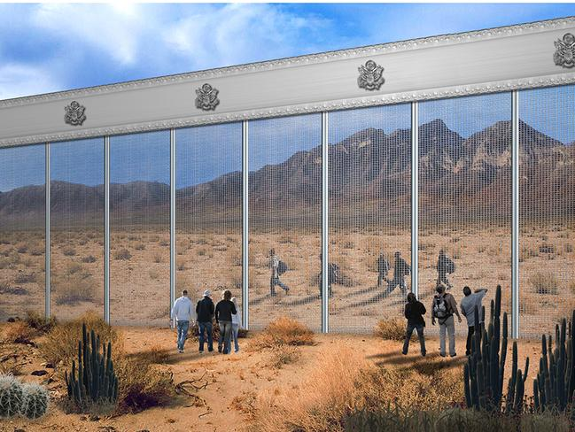 PennaGroup, a Texan construction firm, has proposed a wall made of wire and a one-way sheet of plexiglass. Picture: PennaGroup