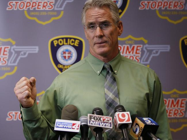Oklahoma City Police Capt. Bo Mathews answers a question about the shooting of Magdiel Sanchez, Wednesday, Sept. 20, 2017. Picture: AP Photo/Sue Ogrocki