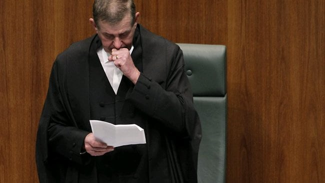 An emotional Peter Slipper resigns as Speaker of the House of Representatives in Federal Parliament tonight. Picture: Ray Strange