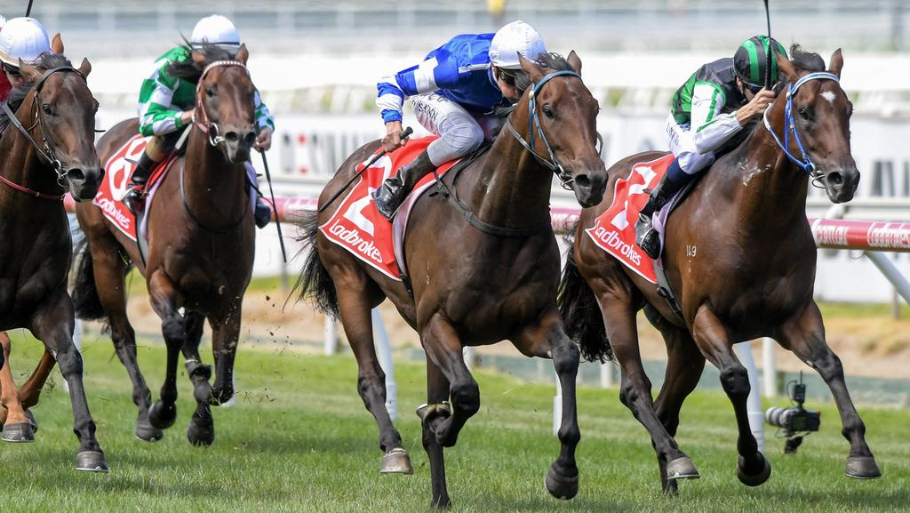 Benz, ridden by Blake Shinn, wins the Zeditave Stakes at Caulfield. Picutre: Mike Keating/Racing Photos via Getty Images