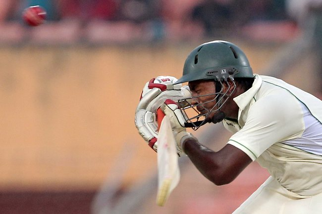 Bangladesh batsman Abul Hasan avoids a bouncer on the first day of the second Test against West Indies, in Khulna. Picture: A.M. Ahad