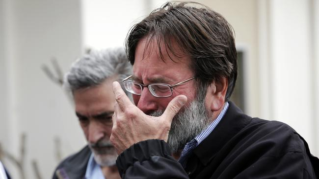 Father's pain ... Richard Martinez, whose son Christopher was killed in the mass shooting, breaks down as he talks to the media.