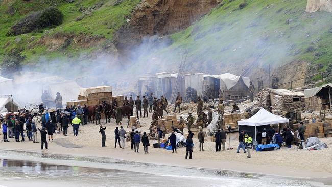 Filming for miniseries Deadline Gallipoli at Maslin Beach. Picture: Mark Brake