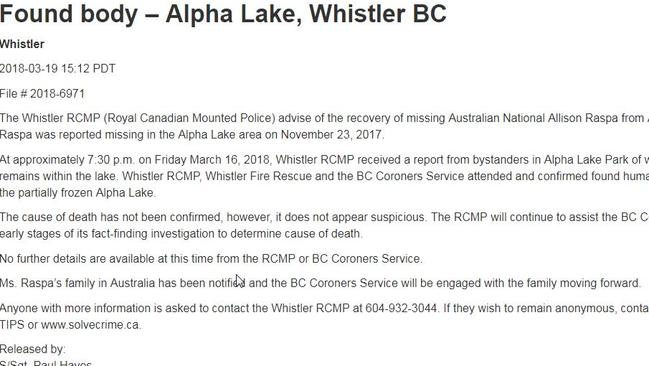 Statement from police regarding Alison Raspa's death.
