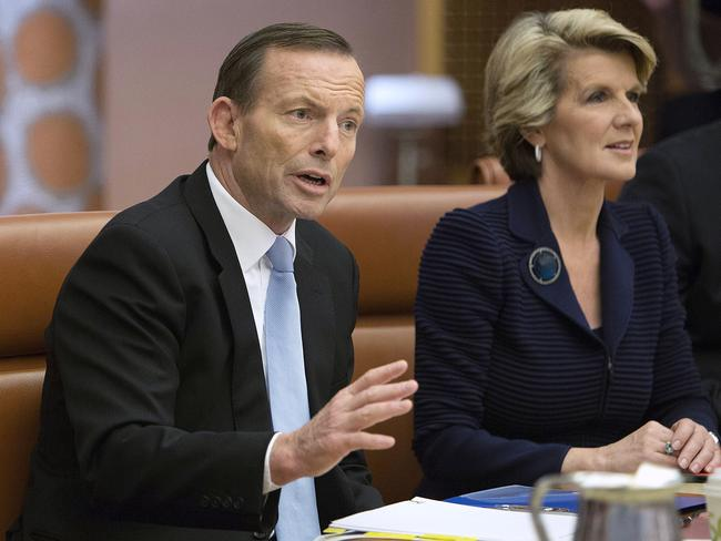 A team divided? ... Prime Minister Tony Abbott with Foreign Minister Julie Bishop. Picture: AP