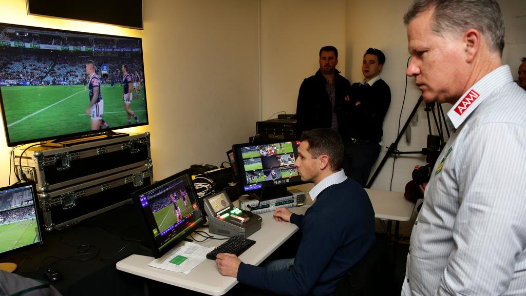 Referees boss Tony Archer in the bunker during an NRL game.