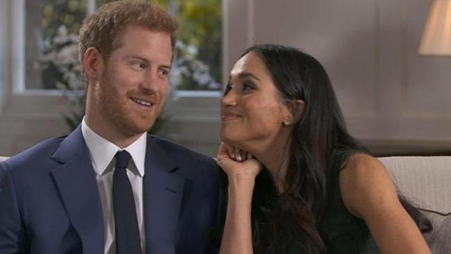 Lip-readers reveal jokes Prince Harry and Meghan Markle shared in goofy outtakes of their engagement interview. Picture: BBC.