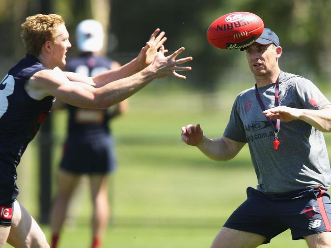 Clayton Oliver and Simon Goodwin at training last week. (Photo by Michael Dodge/Getty Images)