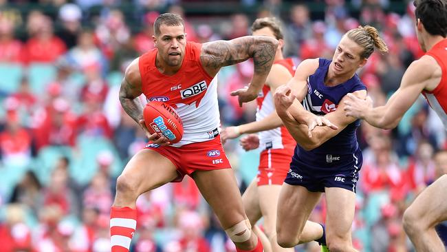 Lance Franklin was unstaoppable early. Picture: AAP