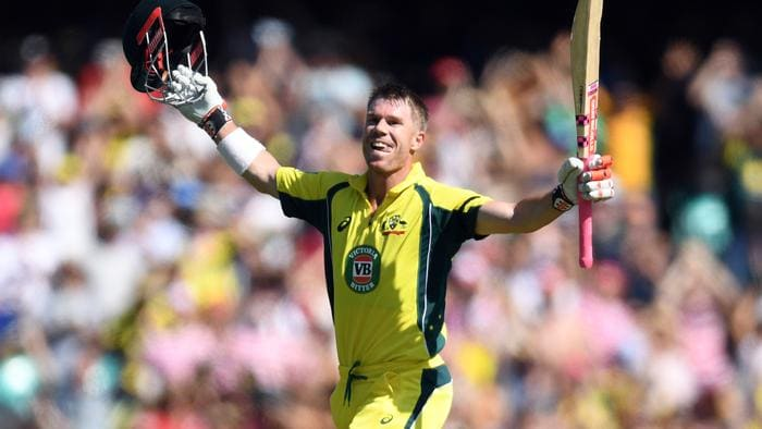 David Warner of Australia celebrates scoring a century during the fourth One Day International between Australia and Pakistan at the Sydney Cricket Ground in Sydney on Sunday, Jan. 22, 2017. (AAP Image/Paul Miller) NO ARCHIVING, EDITORIAL USE ONLY, IMAGES TO BE USED FOR NEWS REPORTING PURPOSES ONLY, NO COMMERCIAL USE WHATSOEVER, NO USE IN BOOKS WITHOUT PRIOR WRITTEN CONSENT FROM AAP
