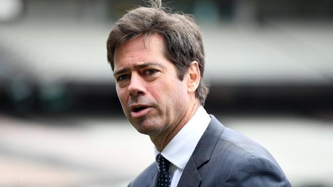 AFL chief Gillon McLachlan said the league has not ruled out a 17-5 fixture model. Picture: AAP