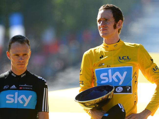 Froome and Wiggins on the podium of the Tour de France in 2012. Picture: Jerome Prevost