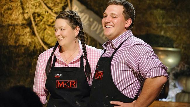 Too cheesy? ... Annie and Jason on My Kitchen Rules. Picture: Supplied