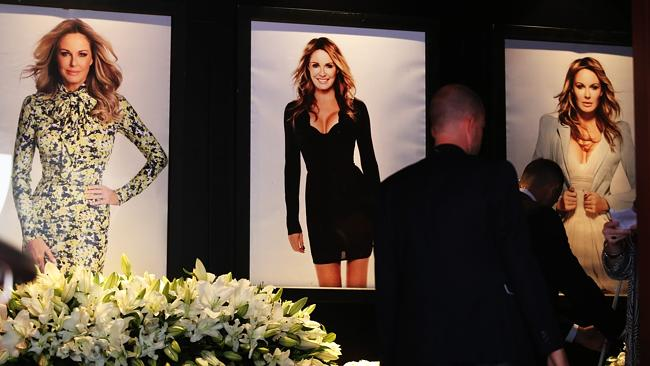 The entrance to the Beresford pub in Surry Hills was adorned with pictures of Charlotte Dawson at her most glamorous.