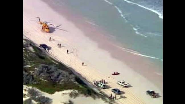 Aerial view of the scene close to where the fatal shark attack of a surfer took place 4km south of Wedge Island. Picture: Channel 10.