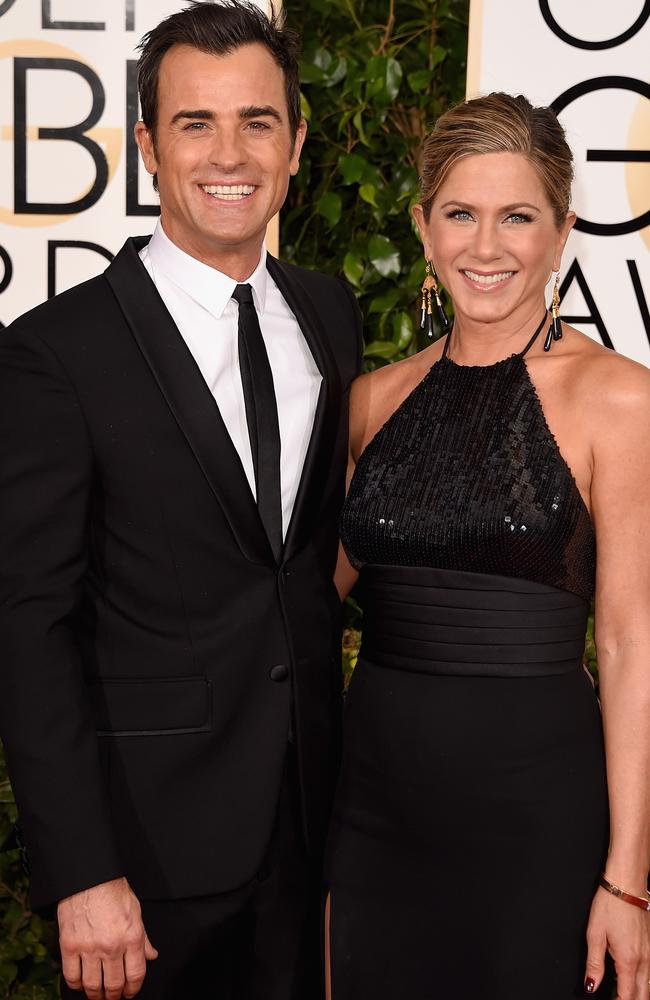 Happier times: Theroux and Aniston attend the Golden Globes in 2015. Picture: Getty