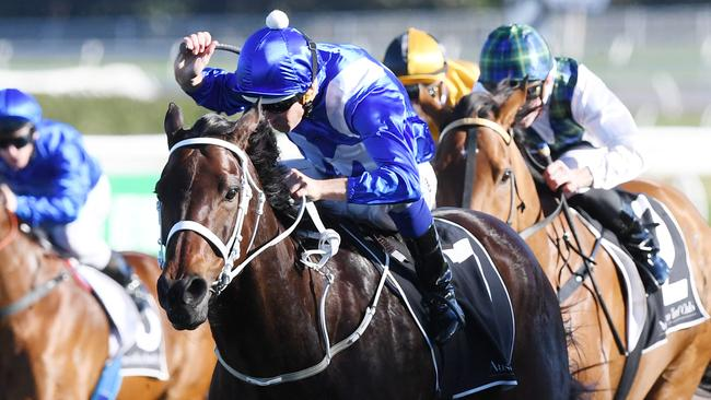 Winx overcame a terrible start to win the Warwick Stakes.